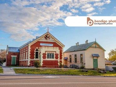 the old church on the hill - Bendigo Stock Photos